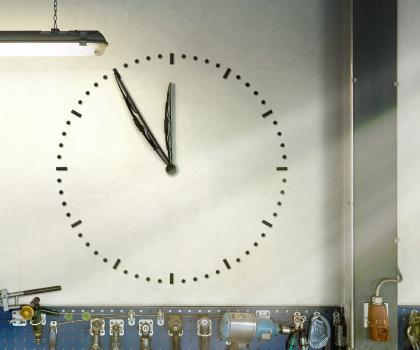 Clock in a garage